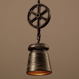 Amusing Iron Wheel and Cylinder Shape Pendant Light