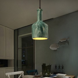 Green Iron Decorative Bottle Shape Chain Pendant Light