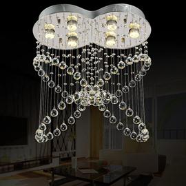 Delicate Decorative Crystal Butterfly Shape 6 Bulbs Energy Saving Flush Mount
