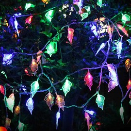 Stunning Colorful Leaves Shape Design 32.8 Feet Christmas Decoration Waterproof Battery LED Lights