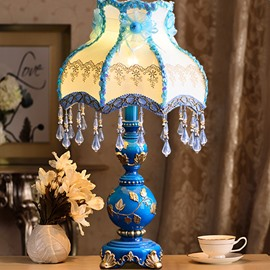 Special American Country Style Resin Flower Pattern Home Decorative Table Lamp