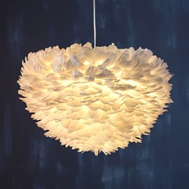White Unique Feather Decoration Modern Style Pendant Light