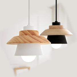 Black and White Wooden Modern Shape Design Pendant Light