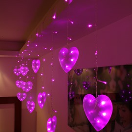 54 Romantic Pink Heart Shaped 9.8 Feet Width Home Decorative LED String  Lights