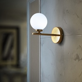 Golden Basis with White Ball Hardware and Glass Simple Style 1-Head Wall Light