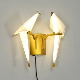 Golden Base and Two White Birds Acrylic Wall Light