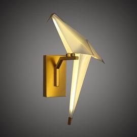 Golden Base and White Bird Acrylic Wall Light