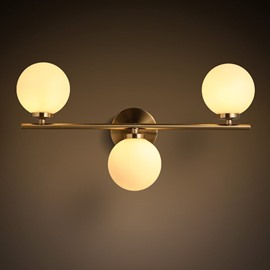 Golden Round Basis Hardware and Glass 3-Head Modern Wall Light