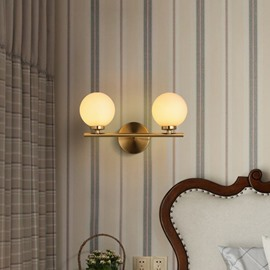 Golden Round Basis Hardware and Glass 2-Head Modern Wall Light
