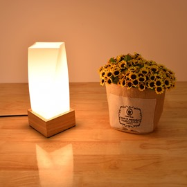 White Glass Cube with Wooden Base 1 Bulb Table Lamp