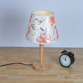 7.87×16.54in White Background with Flowers Cloth Shade Wooden Base 1 Bulb Table Lamp