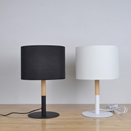 9.84×15.75in Round Black/White Shade and Wooden Base 1 Bulb Table Lamp