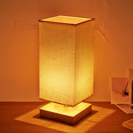 5.51×13.79in Beige Cuboid Shade and Wooden Base 1 Bulb Table Lamp