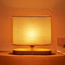 9.84×9.84in Beige Shade and Wooden Base 1 Bulb Table Lamp