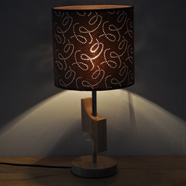 7.87×16.54in Brown Shade with Flowers Printings and Wooden Base 1 Bulb Table Lamp