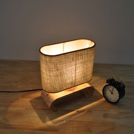 9.87×11.81in Beige Cloth Shade Pin Pattern and Wooden Base 1 Bulb Table Lamp