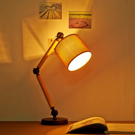 5.9×25.6in Brown Cloth Shade and Adjusted Bracket 1 Bulb Table Lamp