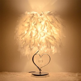 White Feather and Heart-Shaped Strut with Crystal Table Lamp