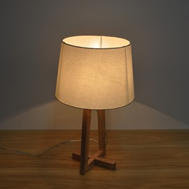 12.6×20.5in Cloth Shade and Wooden Base Simple Style 1 Bulb Table Lamp