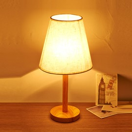 7.87×16.54in Cloth Shade and Wooden Base Simple Style 1 Bulb Table Lamp