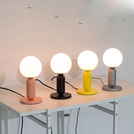 Round Basis and White Ball Hardware and Glass Modern Table Lamp