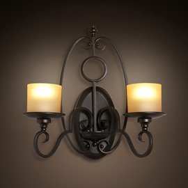 Black Basis Vintage Design Hardware Glass 2-Bulb Wall Light