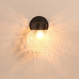 Black Basis with 1-Bulb and Decorative Pattern Hardware and Glass Wall Light