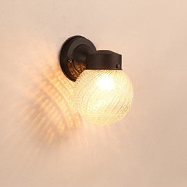 Black Basis with 1 Round Bulb Hardware and Glass Simple Style Wall Light