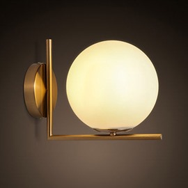 Golden Hardware and Glass Round Bulb Wall Light