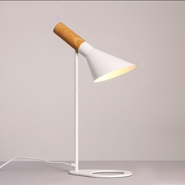 White Simple Style Hardware and Wood Soft Lighting 1 Bulb Table Lamp