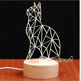 Golden Cat Pattern Wood and Acrylic Handmade Plug LED Light
