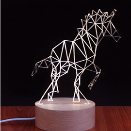 Golden Unicorn Pattern Wood and Acrylic Handmade Socket LED Light