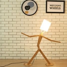 White Shade and Wooden Base Adjustable Energy-saving 1 Bulb Robot DIY Lamp