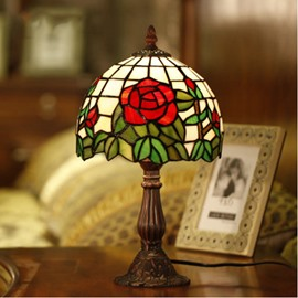 Romantic Red Rose Tiffany Series Bedroom and Living Room Desktop Decorative Lamp
