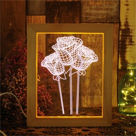 Modern and Romantic Roses Creative Gift USB Night Lamp