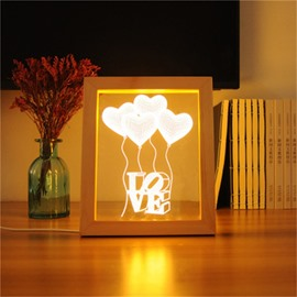 Wonderful and Romantic Pine Frame Acrylic 3D LED Light Night