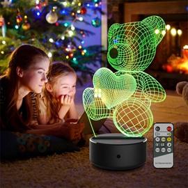 Remote Control 7 Colors 3D Bear LED USB Table Night Lamp