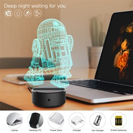 Remote Control Robot 3D Light LED Table Lamp Night Light With 7 Colors