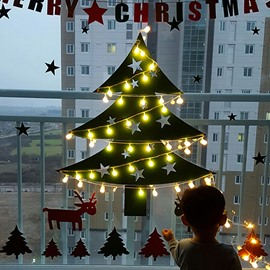 Christmas Tree with 16 ft String Lights Wall Sticker