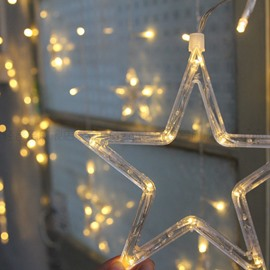 Large and Small Five-pointed Star Decorative Lights in Multiple Colors