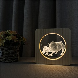 Wood Animal Pattern Baby Table Lamp for Breast-Feeding with 3D Illusion