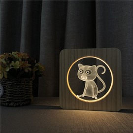 Natural Wooden Animal Pattern Night Lamp for Kids