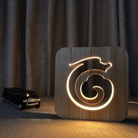 Natural Wooden Creative Dragon Pattern Design Light for Kids