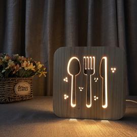 Natural Wooden Creative Tableware Pattern Design Light for Kids