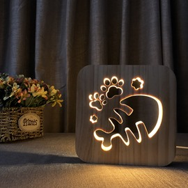 Natural Wooden Creative Fish Bones Pattern Design Light for Kids