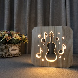 Natural Wooden Creative Cello Pattern Design Light for Kids