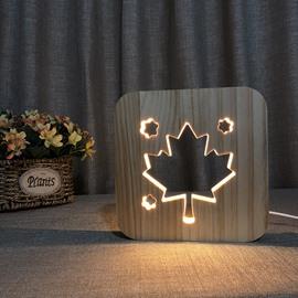Natural Wooden Creative Maple Leaf Pattern Design Light for Kids