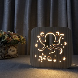 Natural Wooden Creative Octopus Pattern Design Light for Kids