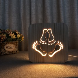 Natural Wooden Creative Footprint Pattern Design Light for Kids