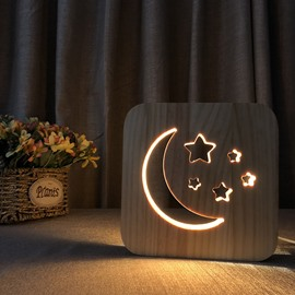 Natural Wooden Creative Moon Stars Pattern Design Light for Kids